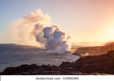 Lava Pouring into the Ocean Creating a Huge Poisonous Plume of Smoke at Hawaii's Kilauea Volcano