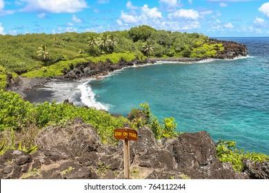 Lava rock beach and coast on Maui, Hawaii