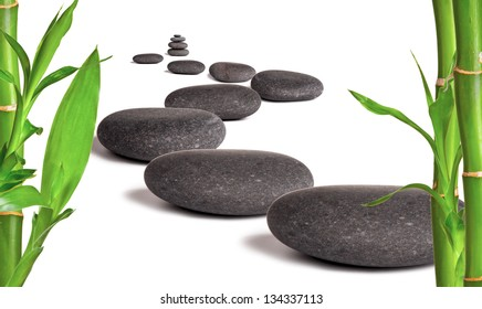 Lava stones with bamboo sprouts, isolated on white background