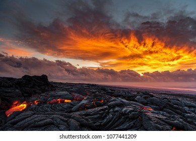 Lava sunrise on the southeast rift zone of Kilauea volcano