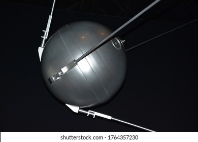 """LAVAL QUEBEC CANADA 06 23 2020: Replaca of Sputnik 1 ( Russian for """"satellite"""" or """"fellow traveler"""") is a spacecraft launched under the Soviet space program."""