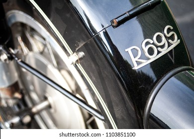 Laval, Quebec, Canada: May 27, 2018: A closeup shot of the rear fender of a vintage BMW R69S motorcycle.