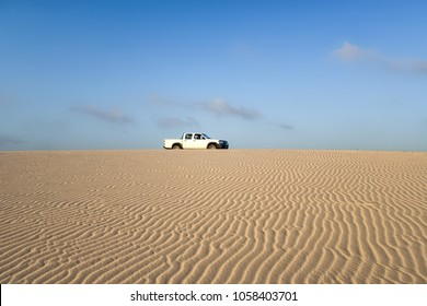 LAVANONO, MADAGASCAR, OCT 18: Unidentified offroad vehicle on the dune of Lavanono in far south of Madagascar, on October 18, 2016