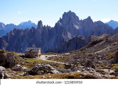 """Lavaredo mountain hut  in the """" Drei Zinnen """" - Dolomites - Italy"""