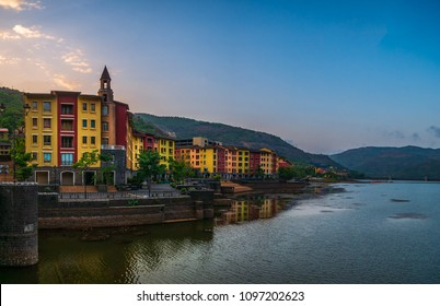Lavasa, India - May 12, 2018 : Lavasa is a private, planned city being built near Pune. It is stylistically based on the Italian town Portofino, with a street and several building