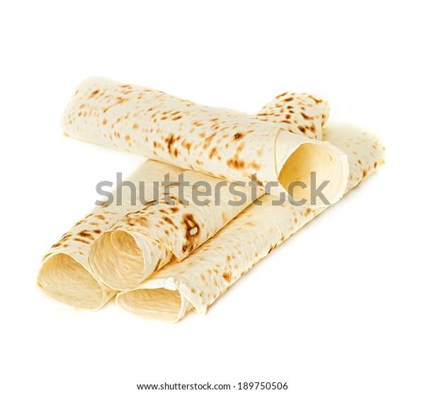 Lavash, Tortilla Wrap Bread. Isolated