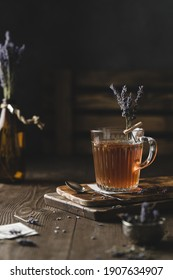 Lavendel tea with lavendel flowers. Still life photography. Tea in turkish cups