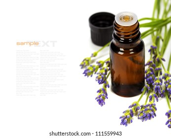 lavender aromatherapy (fresh lavender flowers,  essential oil) over white  (with easy removable text)