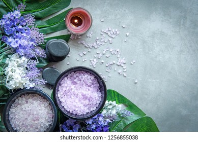 Lavender aromatherapy Spa with candle and rock spa. Thai Spa relax Treatments and massage concrete background. Healthy Concept. Top view and Copy space for text