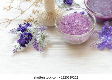Lavender aromatherapy Spa with candle.  Thai Spa relax Treatments and massage white background.  Healthy Concept. select and soft focus