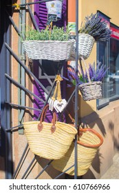 Lavender in the basket on the street