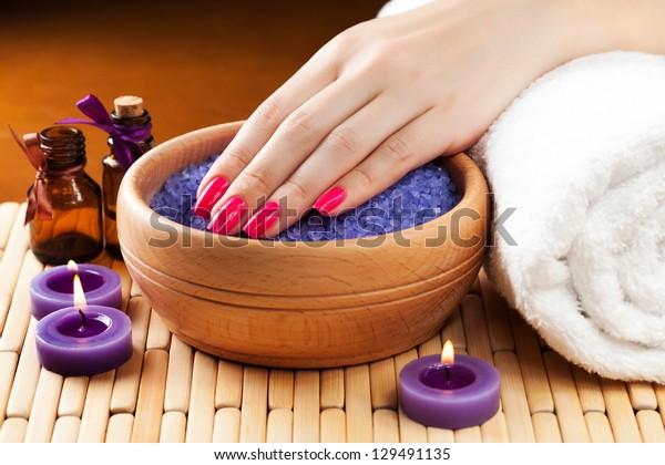 lavender bath salt and flower