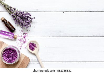 lavender bath salt on wooden table top view