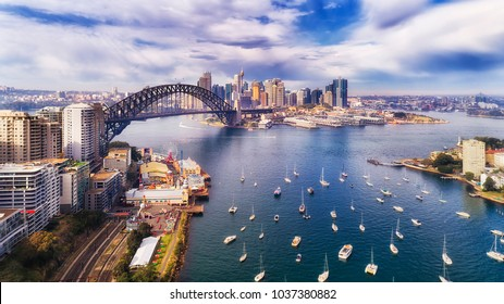 Lavender bay of Sydney harbour near Sydney harbour bridge off Lower North Shore in view of The Rocks, Barangaroo and city CBD.