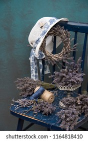 lavender and a blue chair