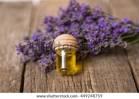 Lavender - bunch of lavender flowers and lavander oil.