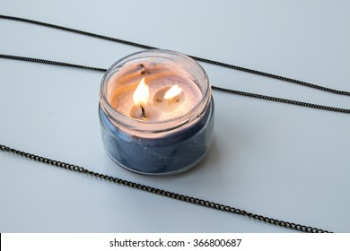 lavender candle palm wax in glass jar