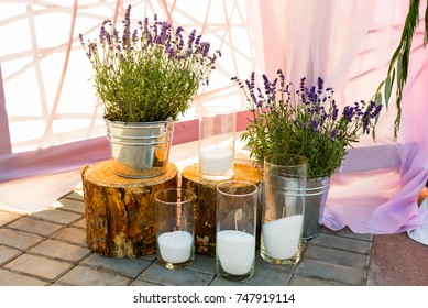 lavender and candles at the wedding as decor decoration of the holiday