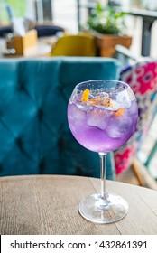 lavender cocktail with orange zest