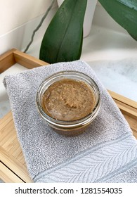 Lavender, coconut oil, and brown sugar body scrub at bath time.
