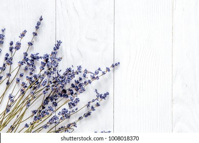 lavender desk design with flowers on white background top view m