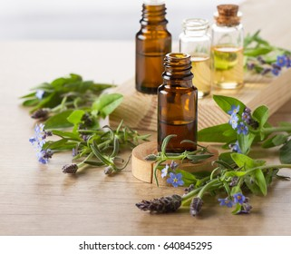 Lavender essential oil, aroma oil and  flowers