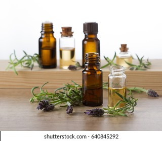 Lavender essential oil, aroma oil and fresh lavender flowers