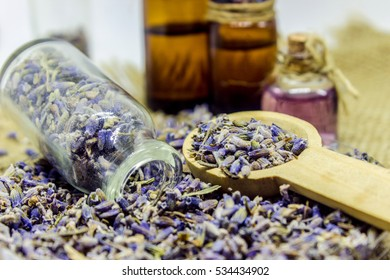 Lavender essential oil in a small bottle.