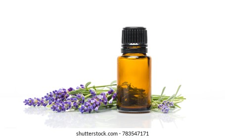 Lavender and an essential oils bottle