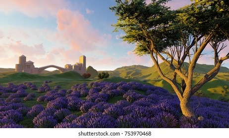 Lavender fields with a solitary tree 3d rendering