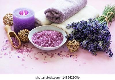 lavender flowers and lavender aromatic sea salt - natural skin care spa