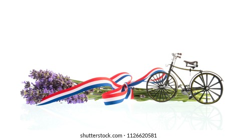 Lavender flowers, French flag and bike isolated over white background