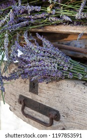 Lavender flowers in old rustic crate, captured on a lavender festival in south of France