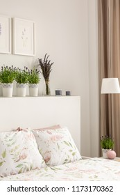 Lavender flowers on bedhead above bed with pillows in bright bedroom interior with posters and lamp. Real photo