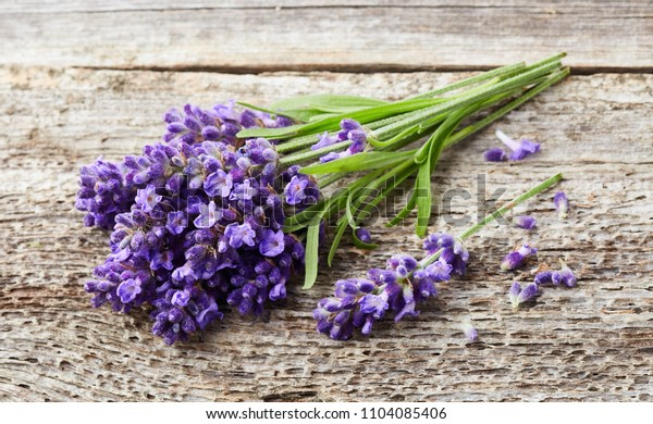 Lavender flowers on wooden background