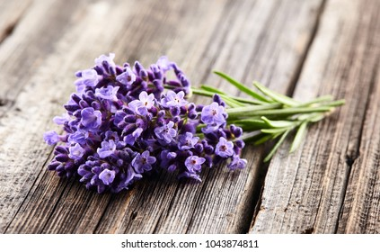 Lavender flowers on wooden board