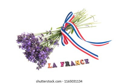 Lavender flowers with vive la France isolated over white background