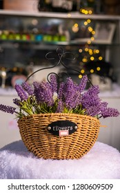 lavender flowers in wooden pannier used for home decoration on blur background