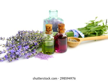 Lavender fresh and dry flowers and lavender oil