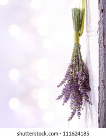 Lavender hanging from an old vintage door, room for copy space