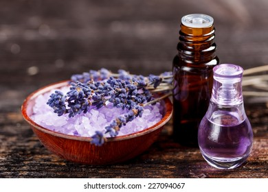 Lavender oil and perfume in a glass bottle