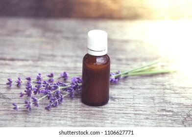 Lavender oil rustic background