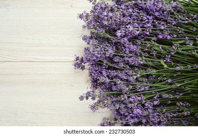 lavender on wooden surface