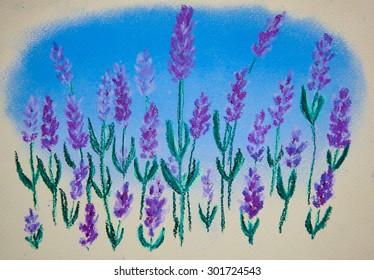 Lavender. Original pastel painting on paper
