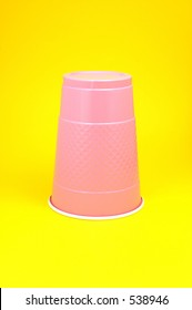 "Lavender Purple Plastic cup (sometimes known as a ""party cup"" or ""disposable cup"") on a yellow background"