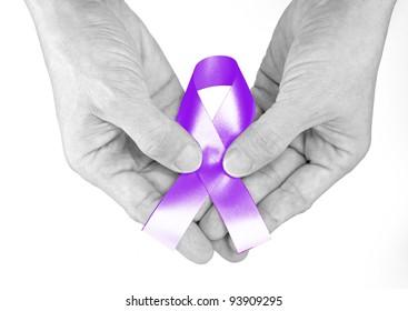 Lavender Ribbon a Symbol of General Cancer