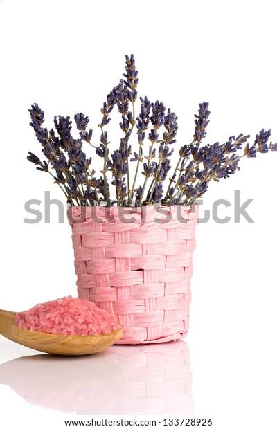Lavender sea salt and dry lavender.
