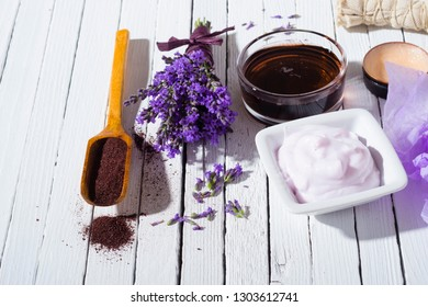 lavender spa, beauty product samples on white wooden table background