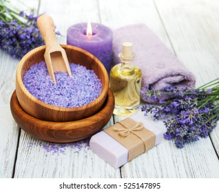 Lavender spa products on a wooden background