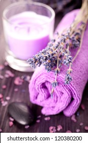 Lavender spa with sea salt and towel